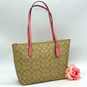 Coach Signature Zip Tote Bag Bubblegum Trim